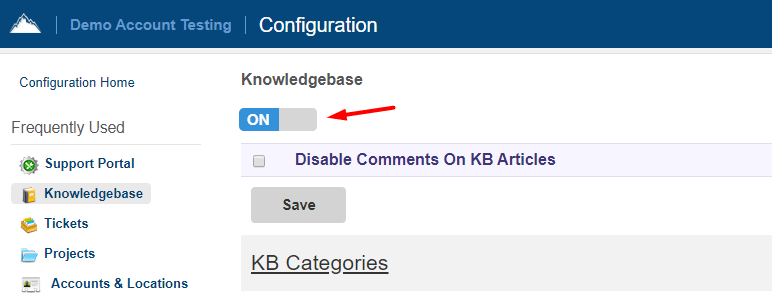 How to enable knowledge base in SherpaDesk