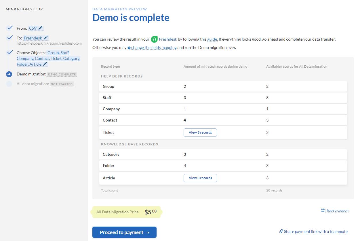 csv demo results