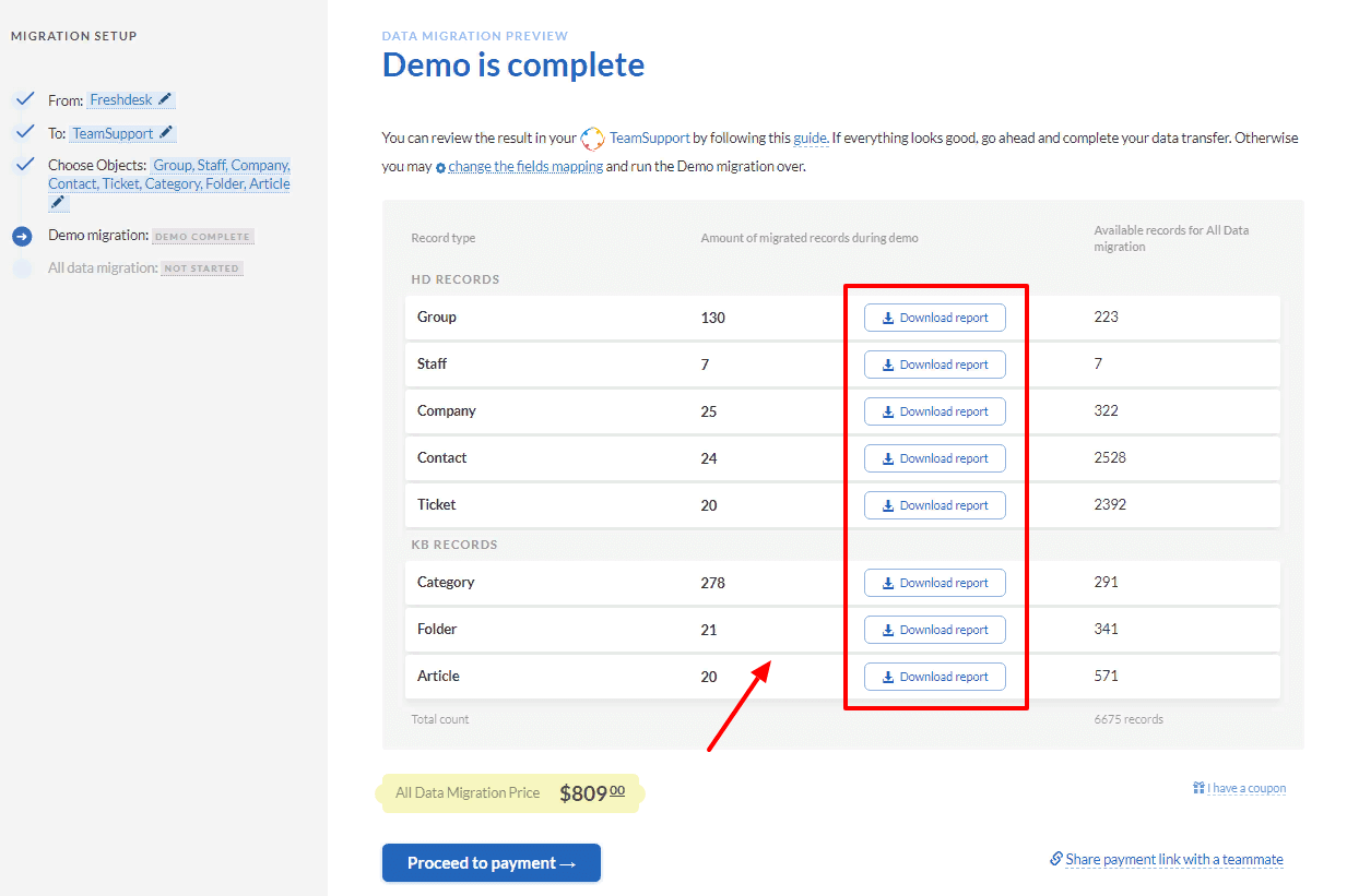 how to check demo migration results in teamsupport