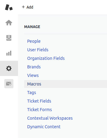 Adding a macro in Zendesk