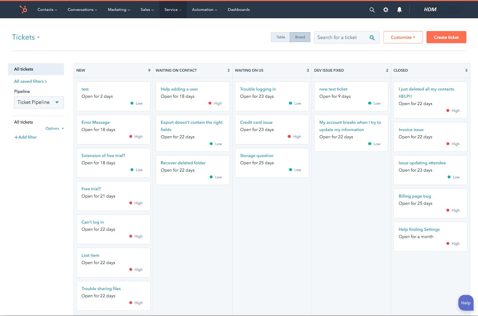 HubSpot User interface