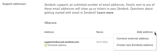 Adding Zendesk support email