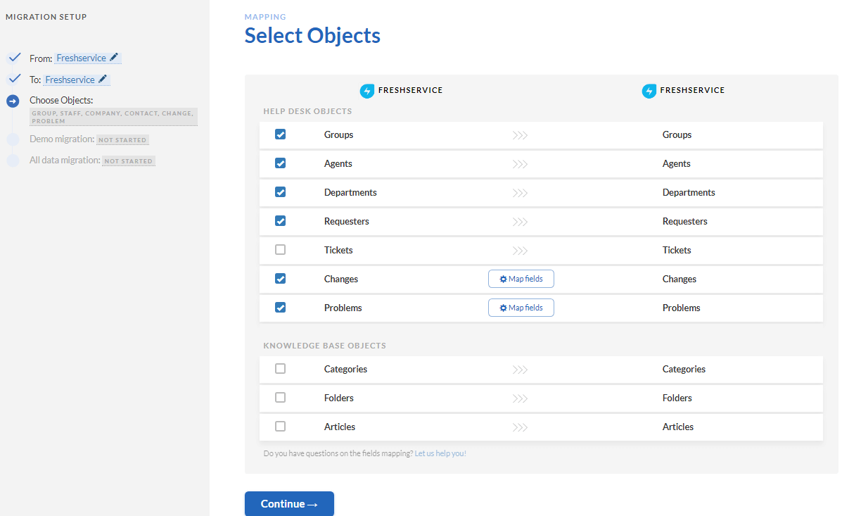 freshservice selecting objects