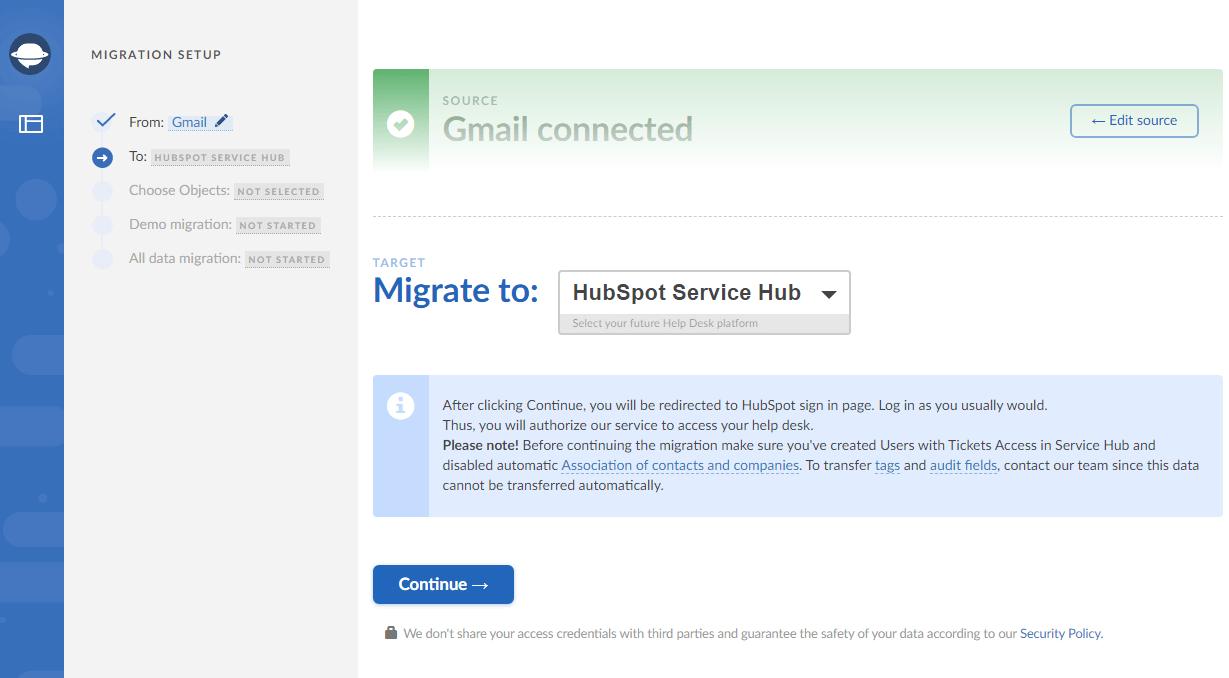 Set up HubSpot Service Hub as target platform