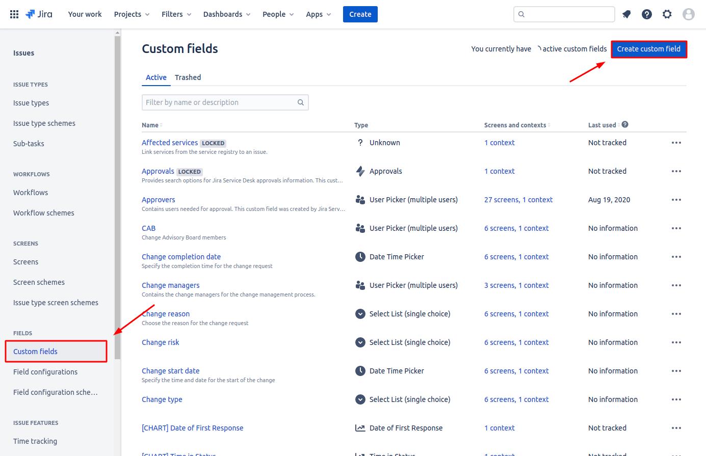 how to create custom fields in jira service desk