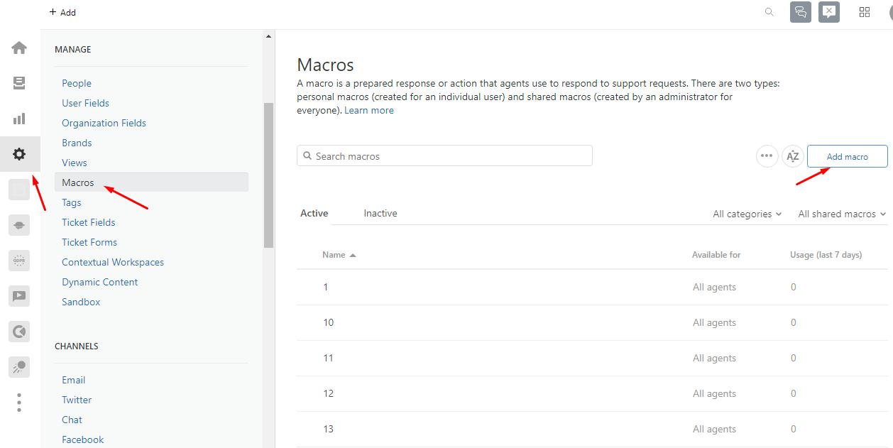 how to create macros in zendesk
