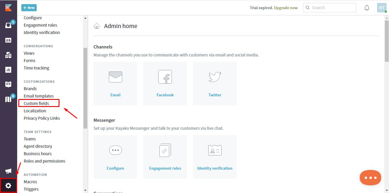 how to create custom fields in kayako