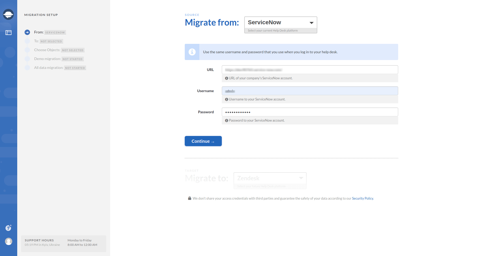 ServiceNow as migration source