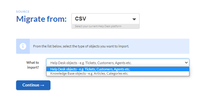 how to connect csv to migration wizard