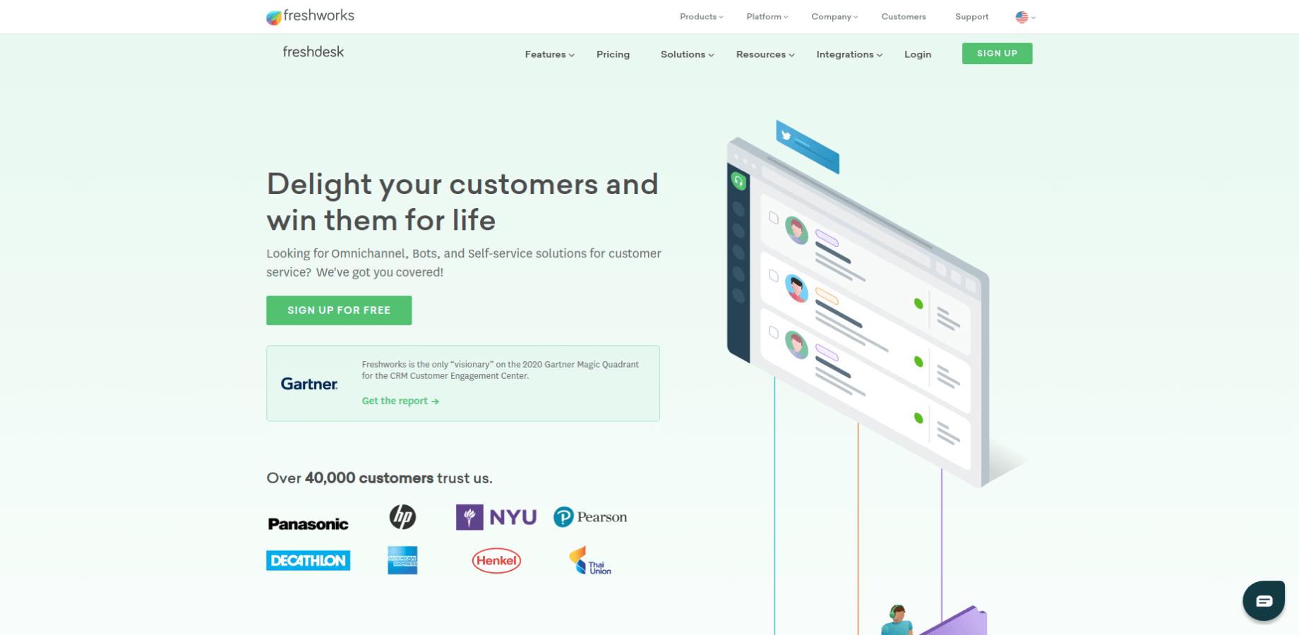 Freshdesk Landing Page Screenshot
