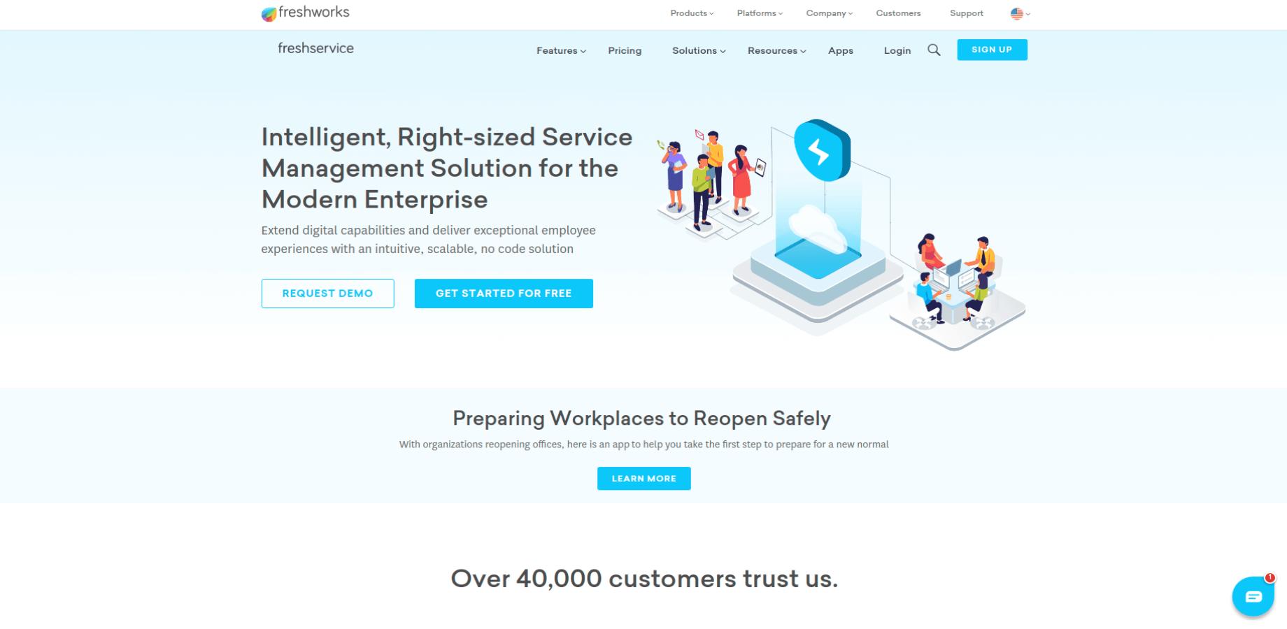 Freshservice Landing Page Screenshot