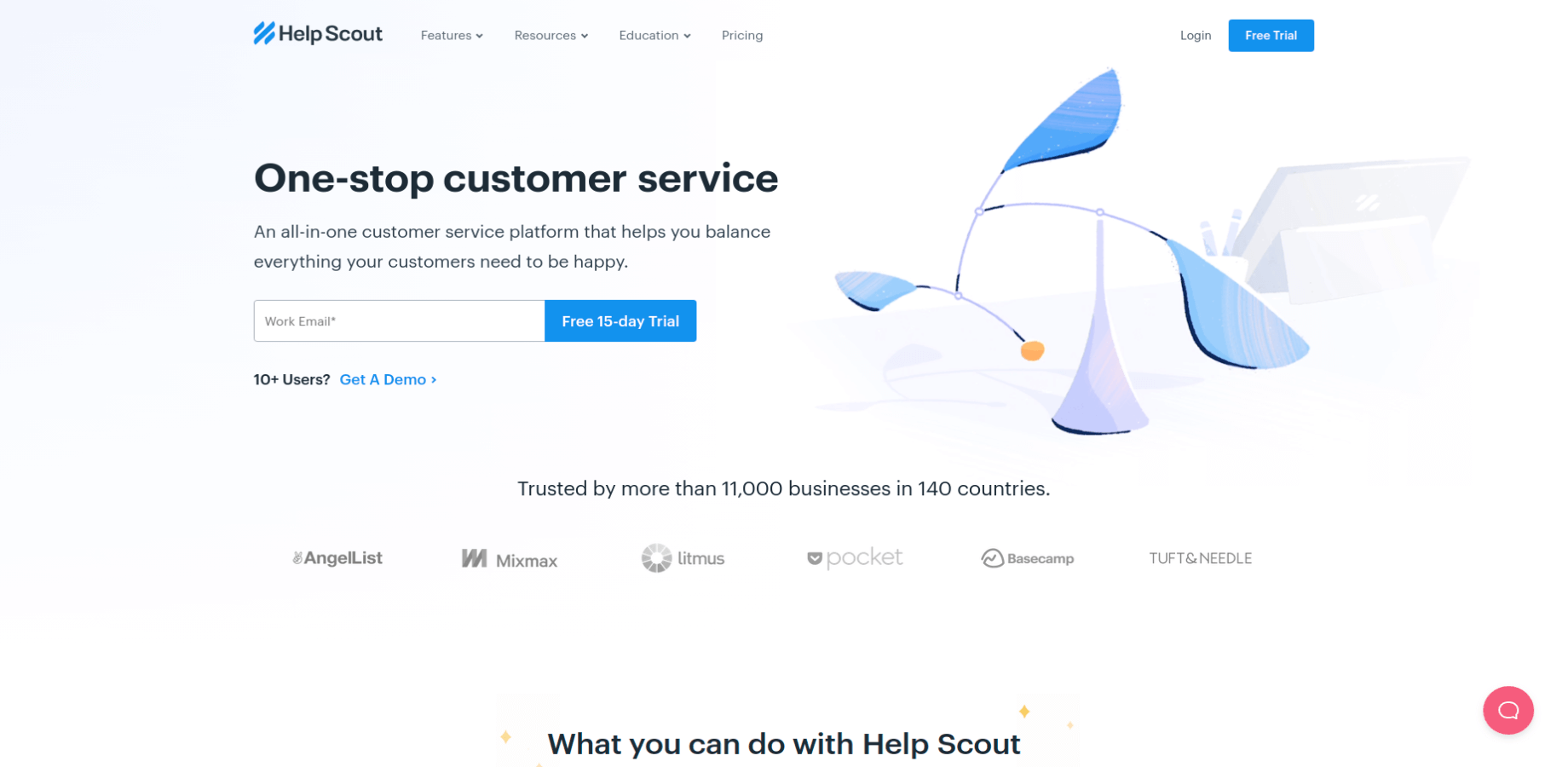 Landing Page of Help Scout