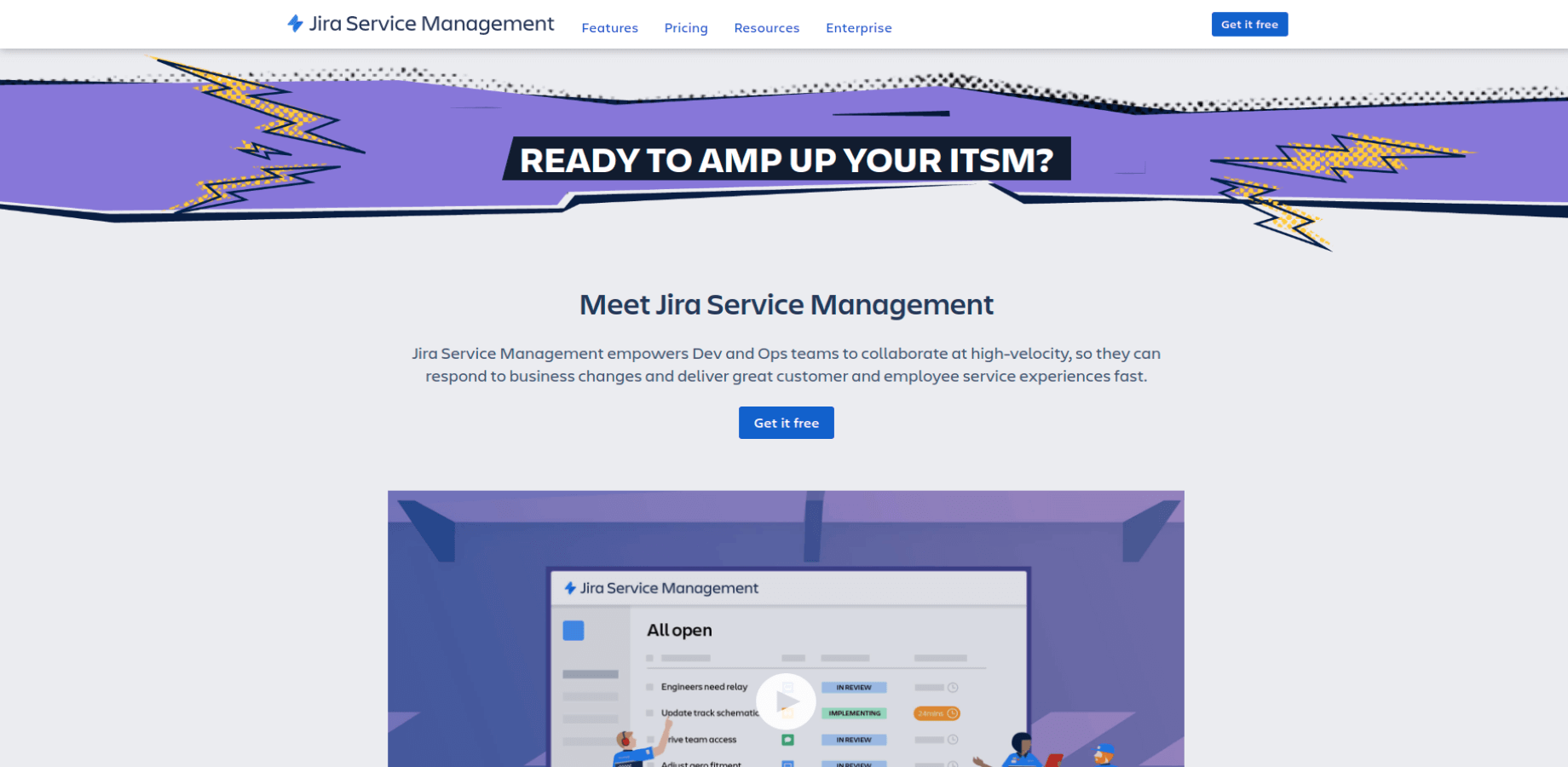 Landing Page of Jira Service Management