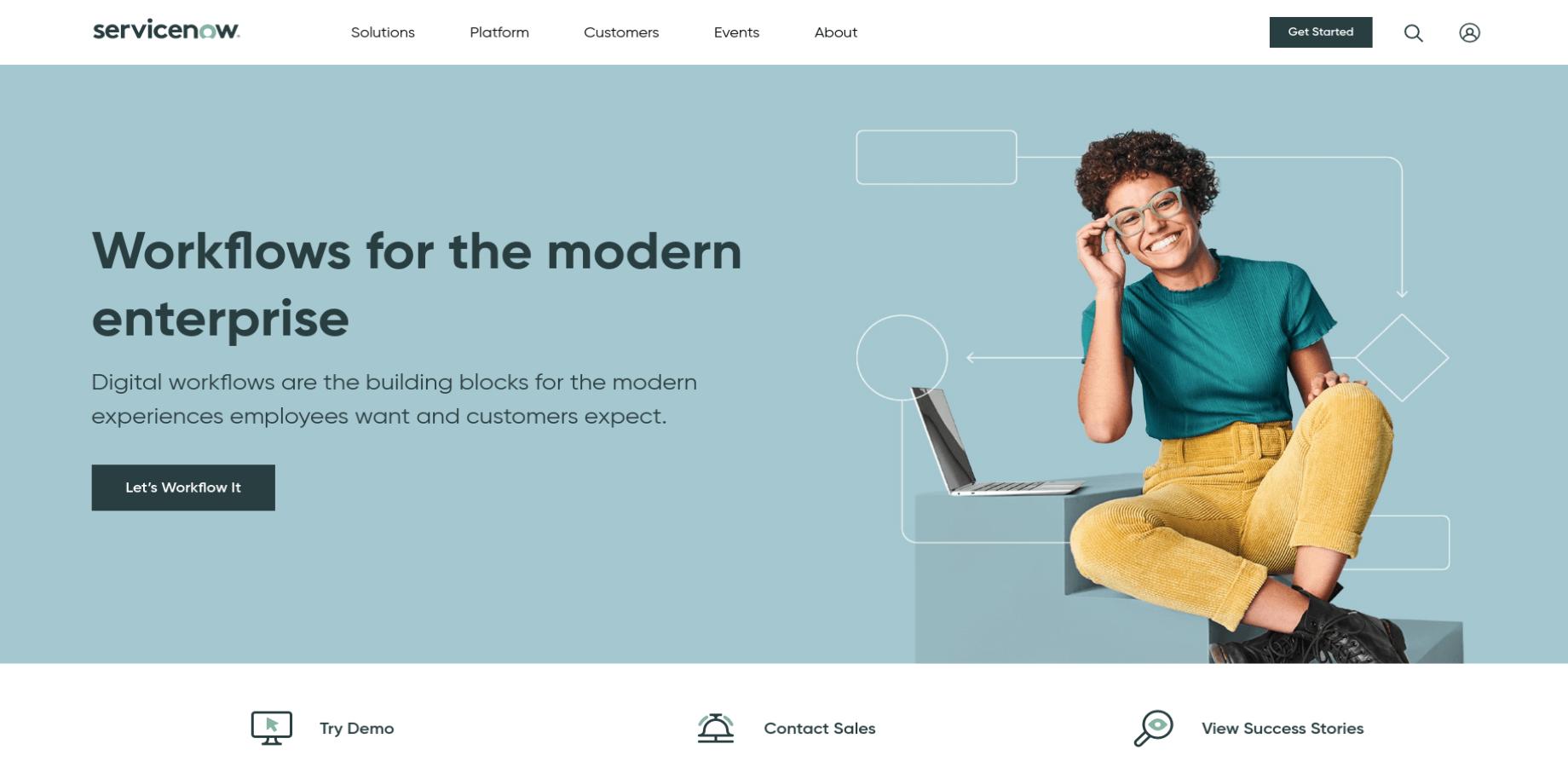 ServiceNow Landing Page Screenshot