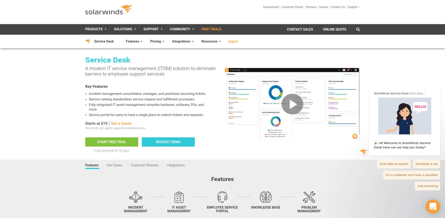 SolarWinds Service Desk Landing Page Screenshot