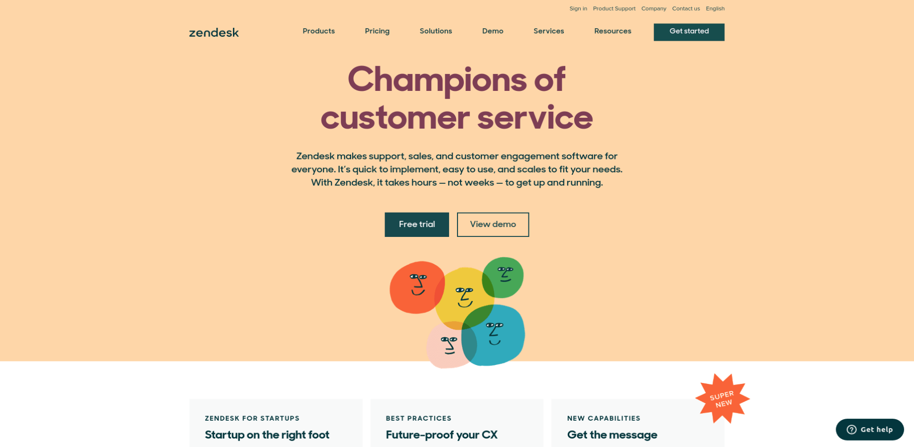 Landing Page of Zendesk