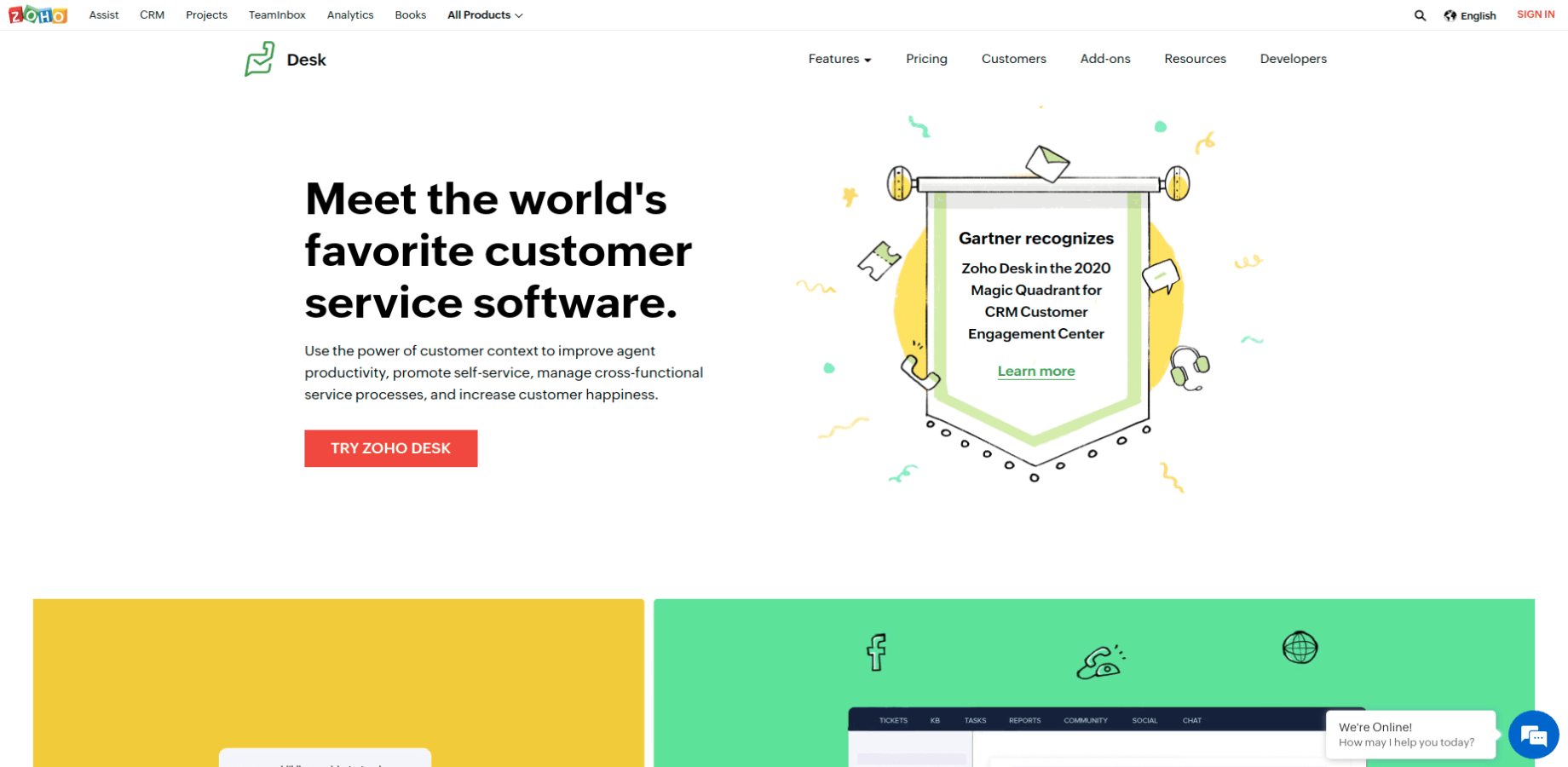 Landing Page of Zoho Desk