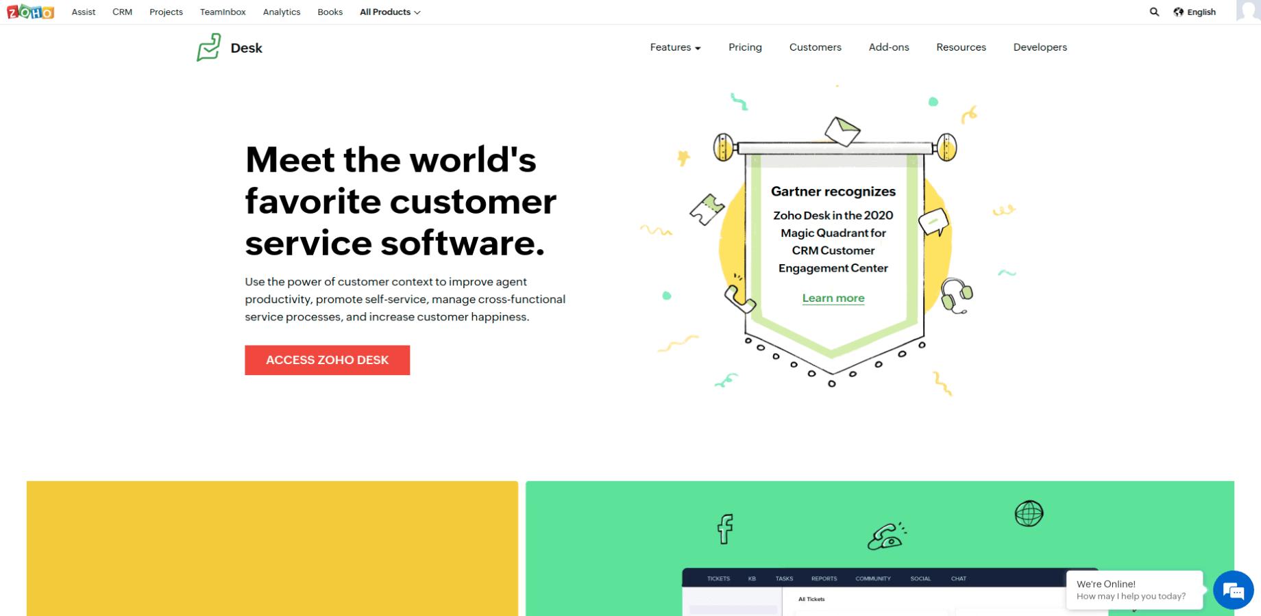 Zoho Desk Landing Page Screenshot