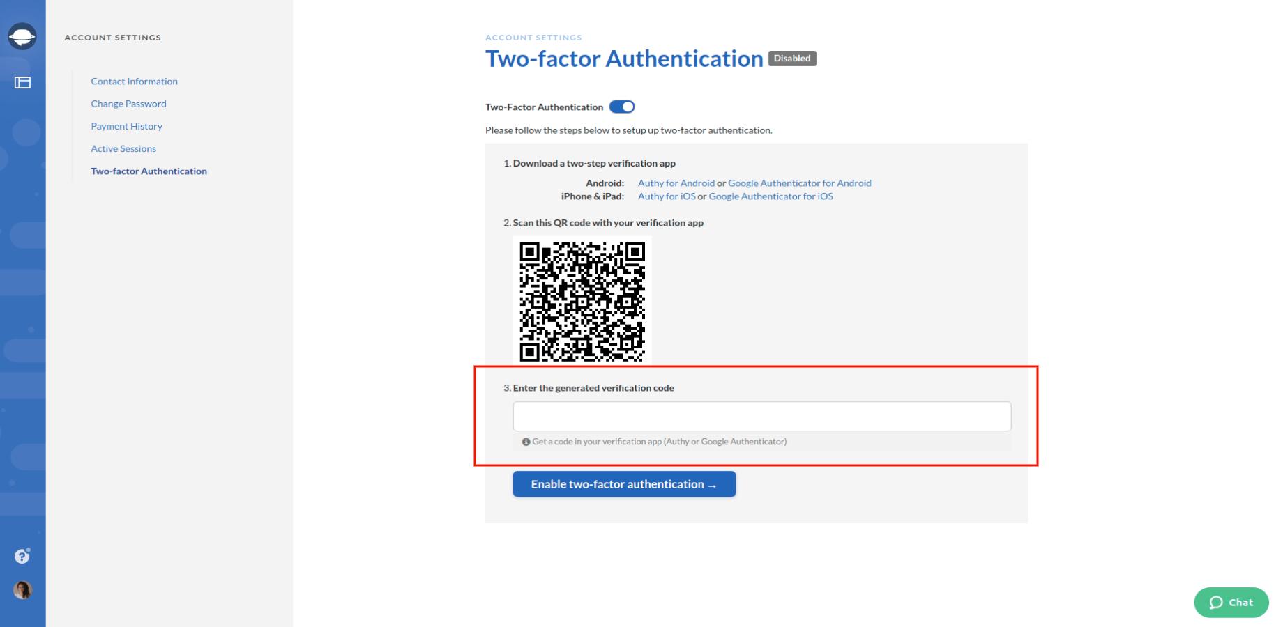 Enter the Verification Code